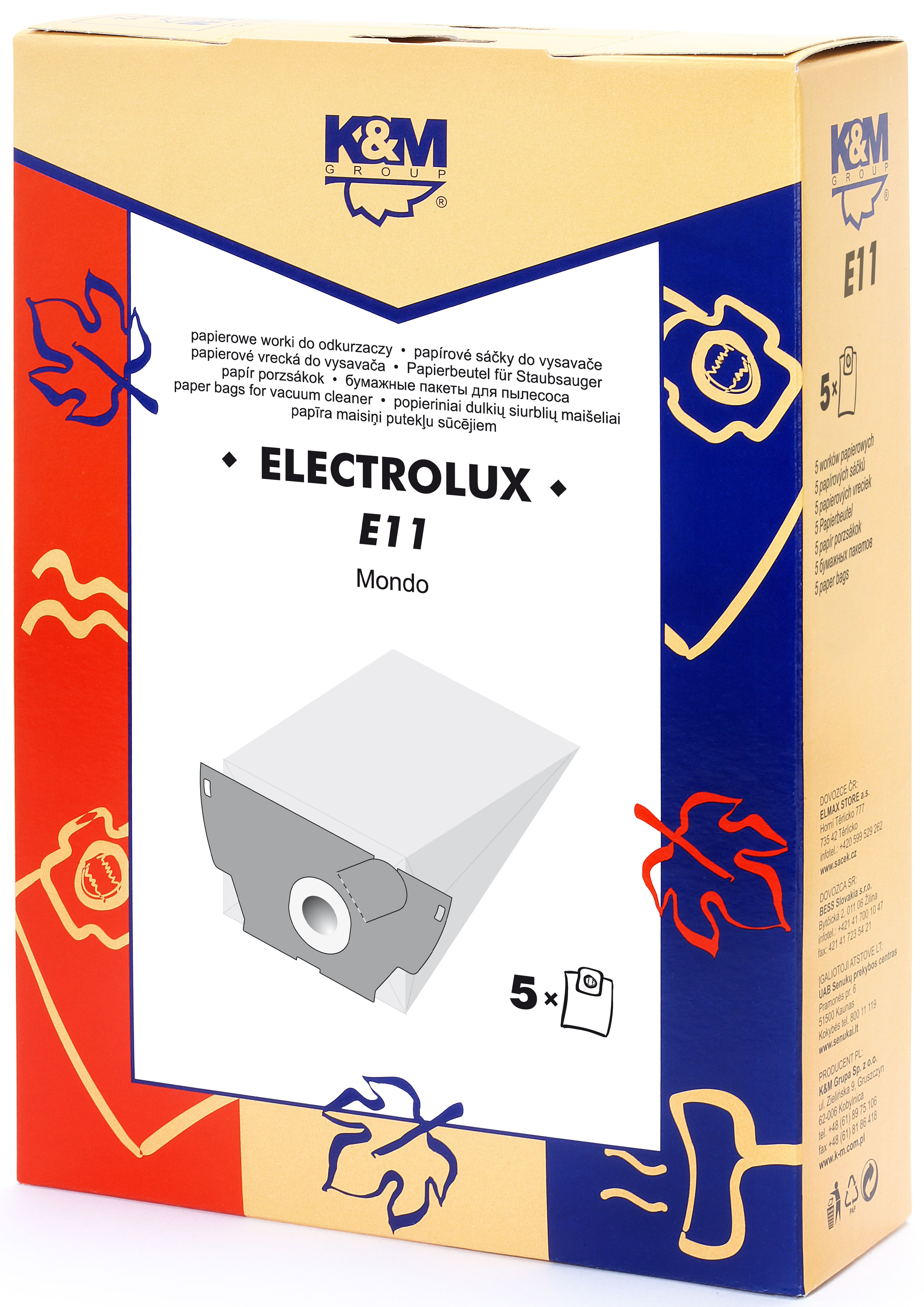 Sac aspirator Electrolux Mondo, hartie, 5X saci, KM