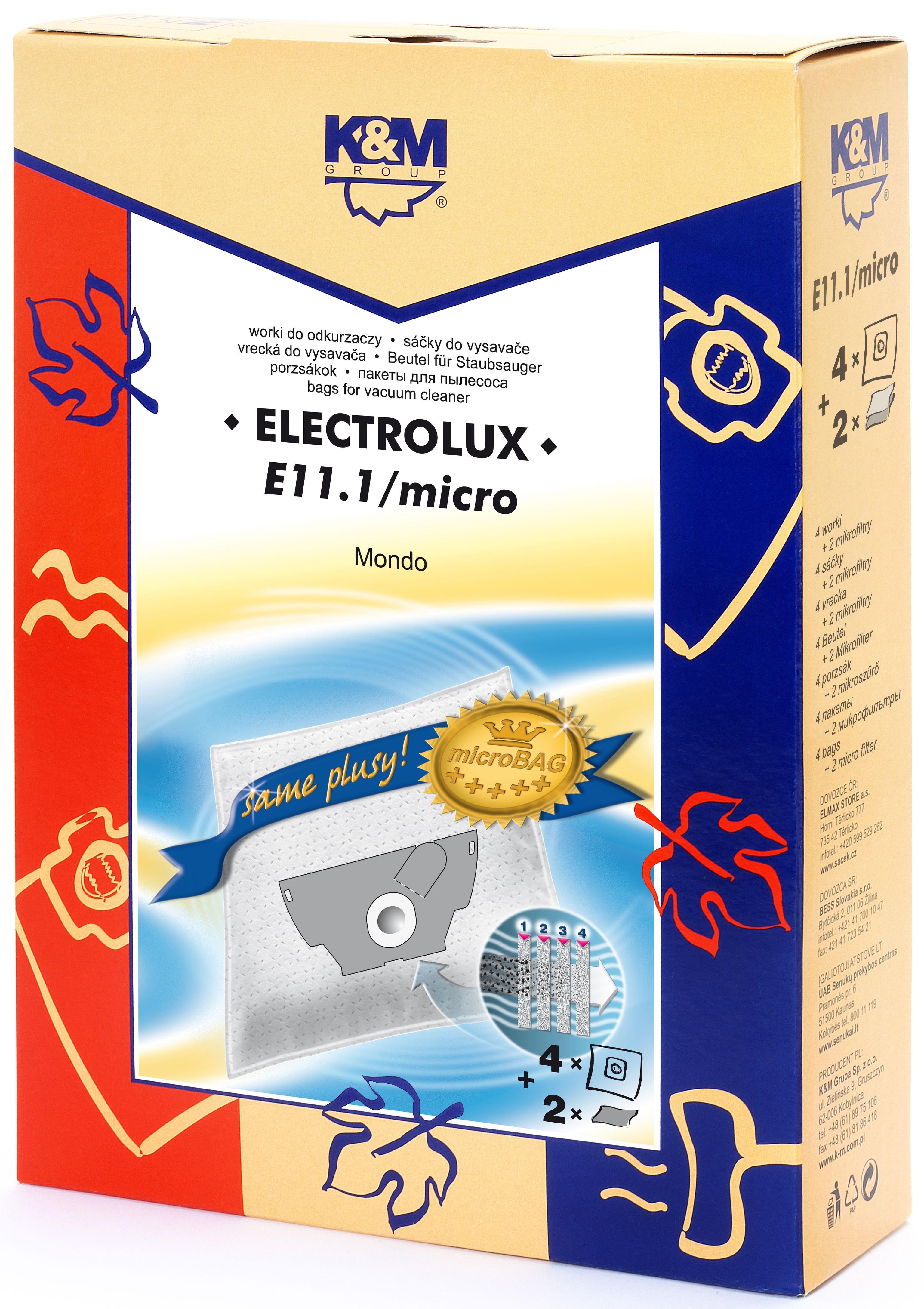 Sac aspirator Electrolux Mondo, sintetic, 4X saci + 2 filtre, KM