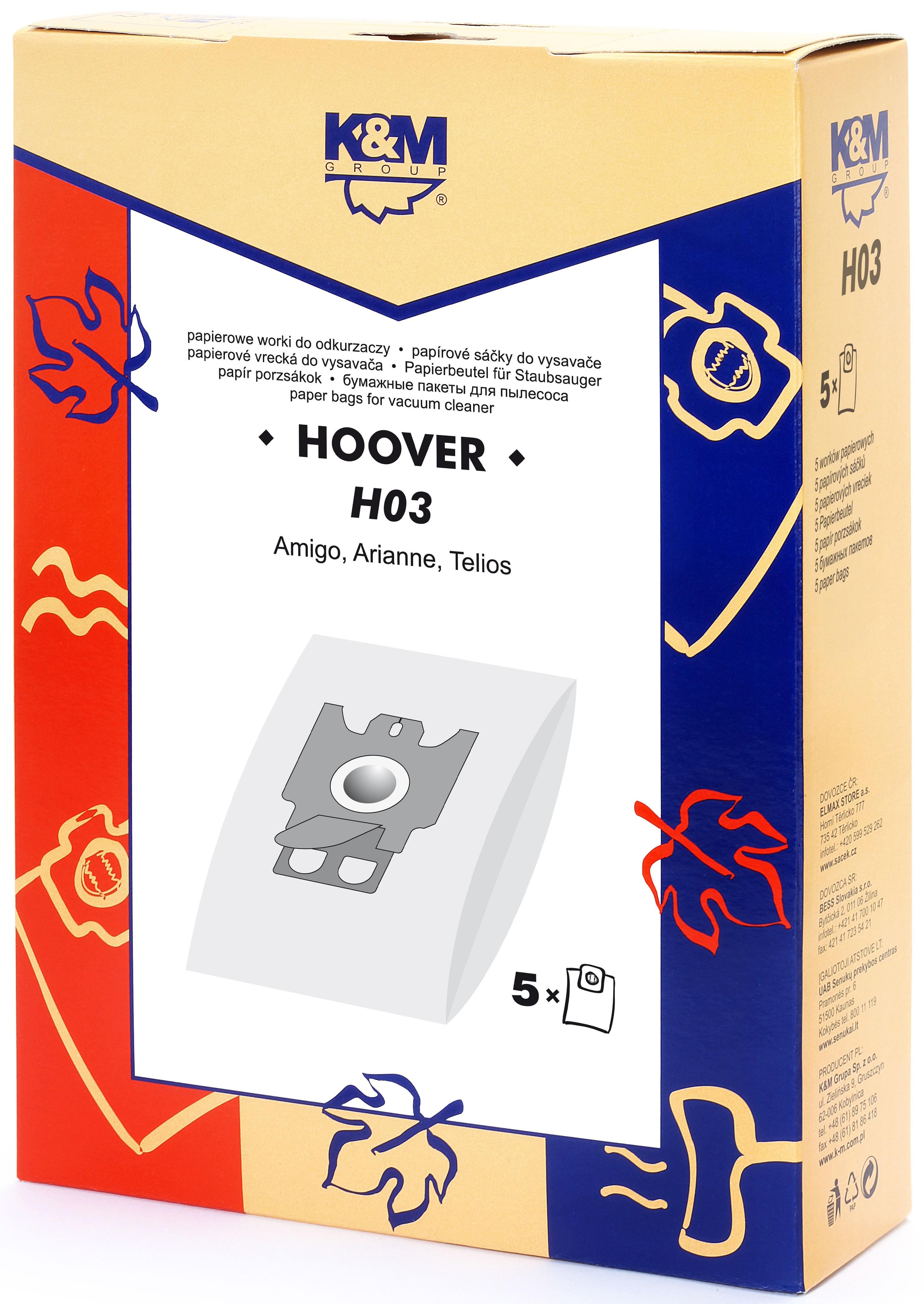 Sac aspirator Hoover H30, hartie, 5X saci, K&M 0