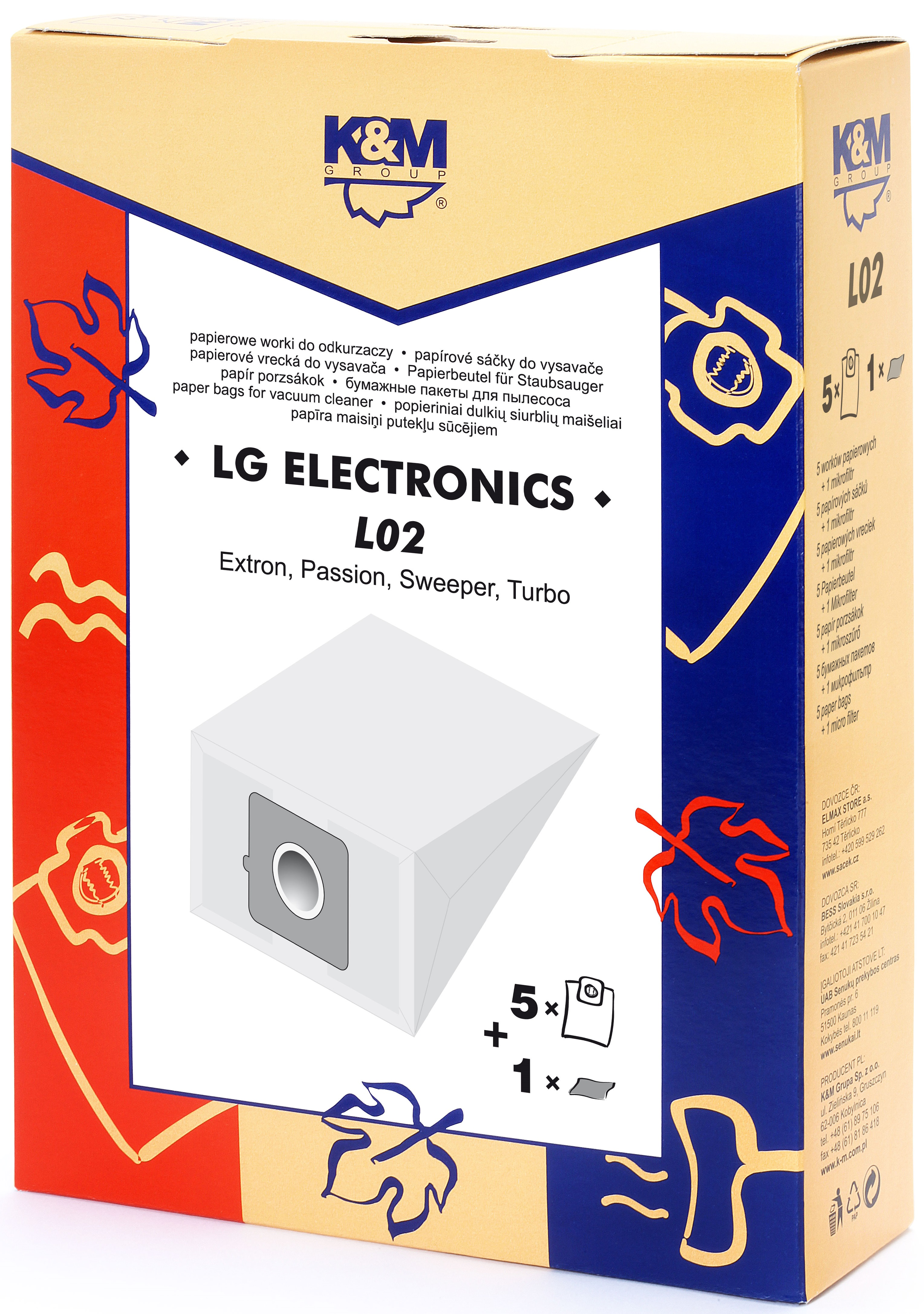 Sac aspirator LG TB-33, hartie, 5X saci + 1 filtru, K&M 0