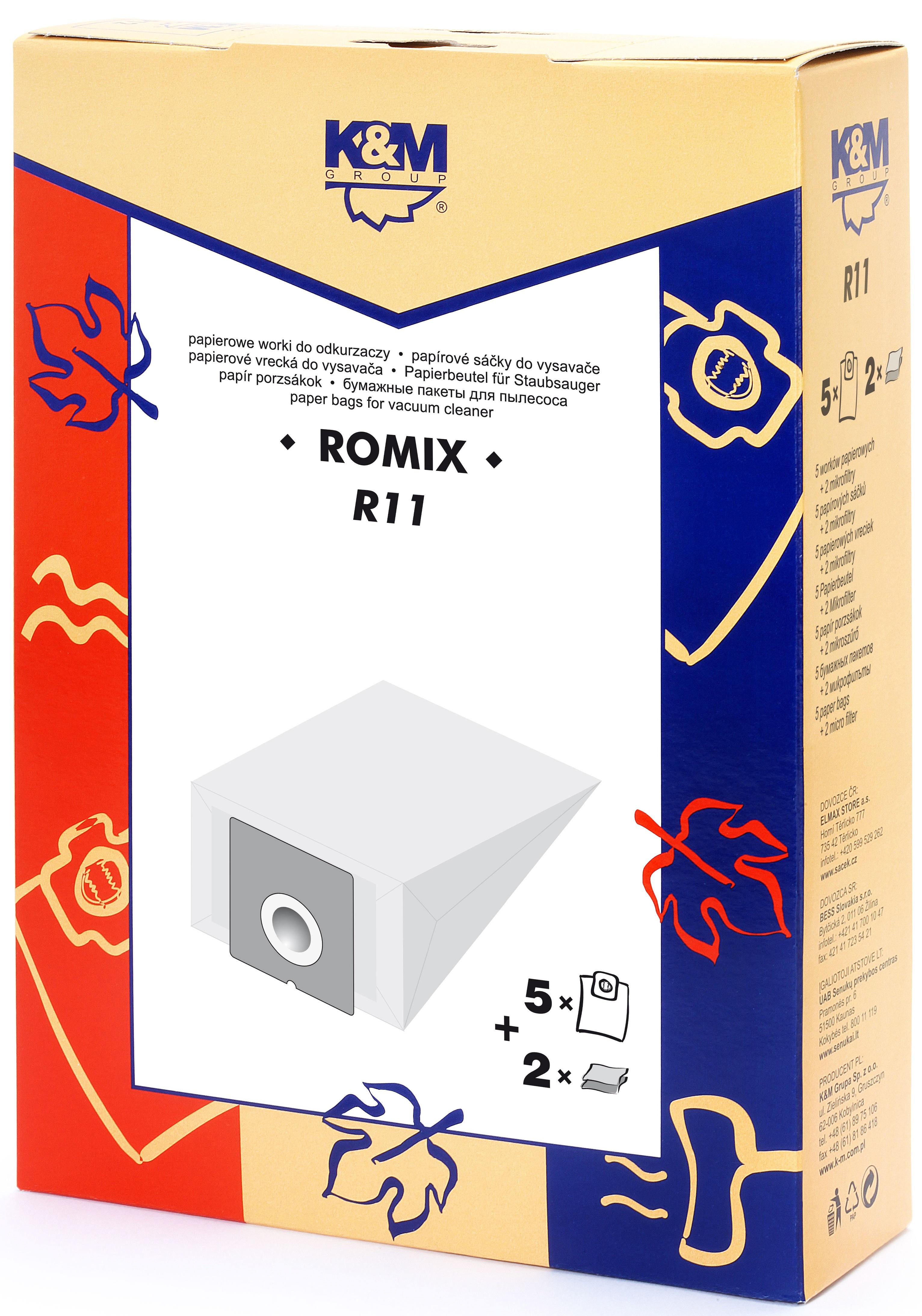 Sac aspirator Romix OC 12 WORKI, hartie, 5X saci + 2X filtre, KM