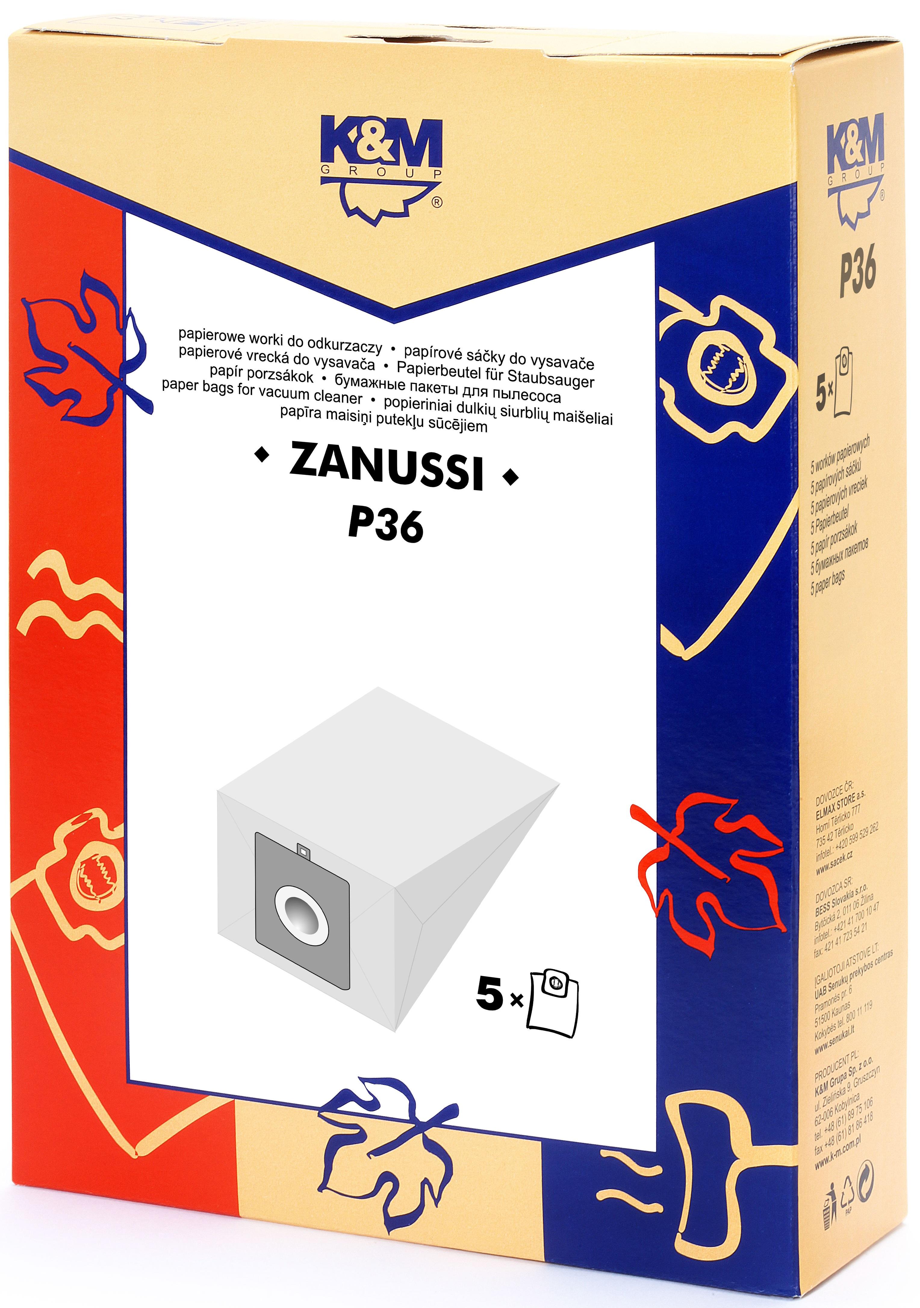 Sac aspirator Zanussi 3321, 3341, hartie, 5X saci, K&M 0