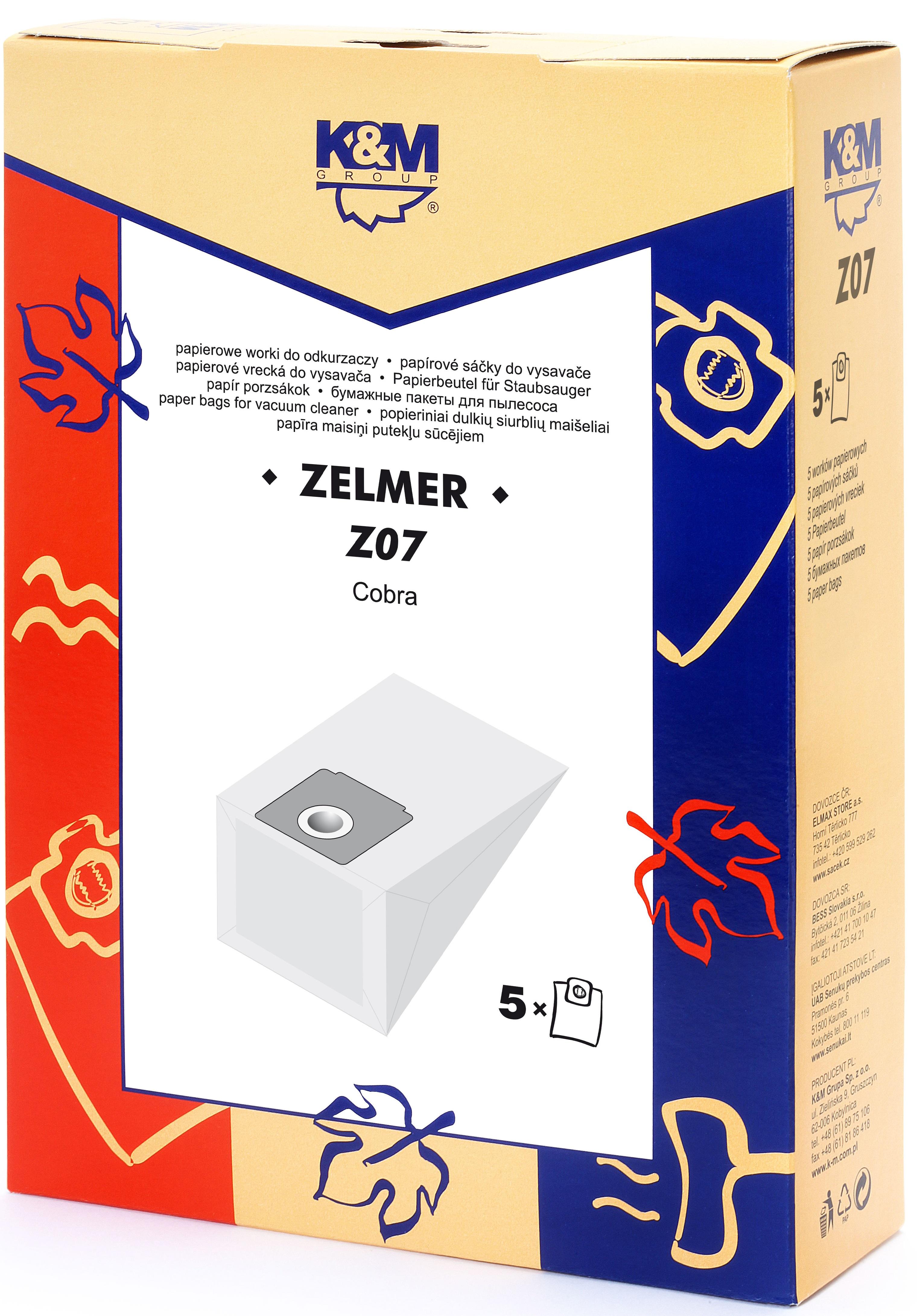 Sac aspirator Zelmer 2000, hartie, 5X saci, KM