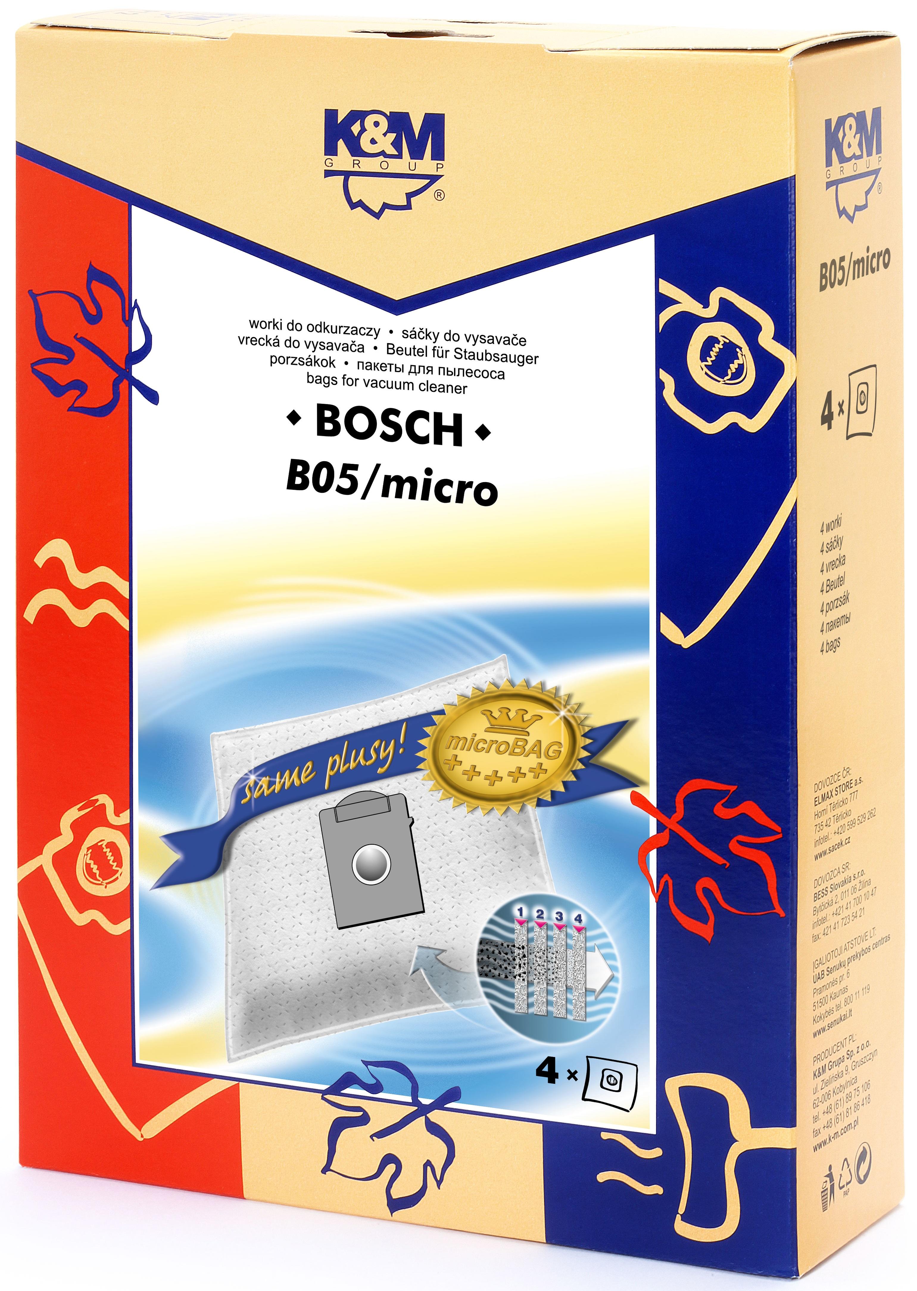 Sac aspirator pentru Bosch/Siemens typ K, sintetic, 4 X saci, K&M 0